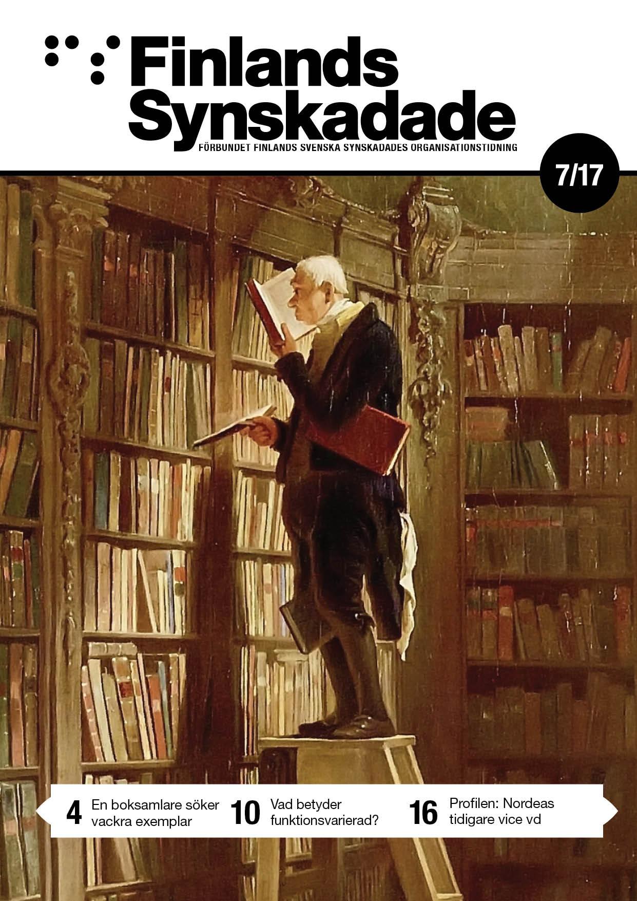 Pärmbilden föreställer en man på en stege med näsan försjunken i en bok..