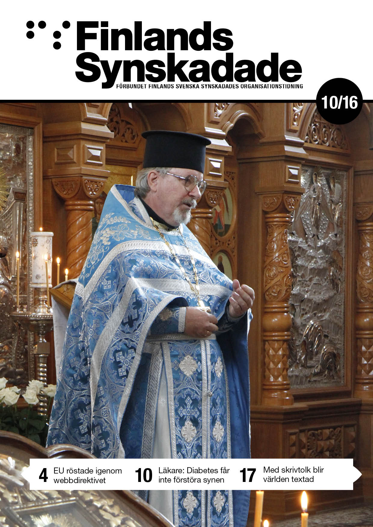 Pärmbild. Sergius Colliander håller predikan klädd i ortodoxa prästkläder.