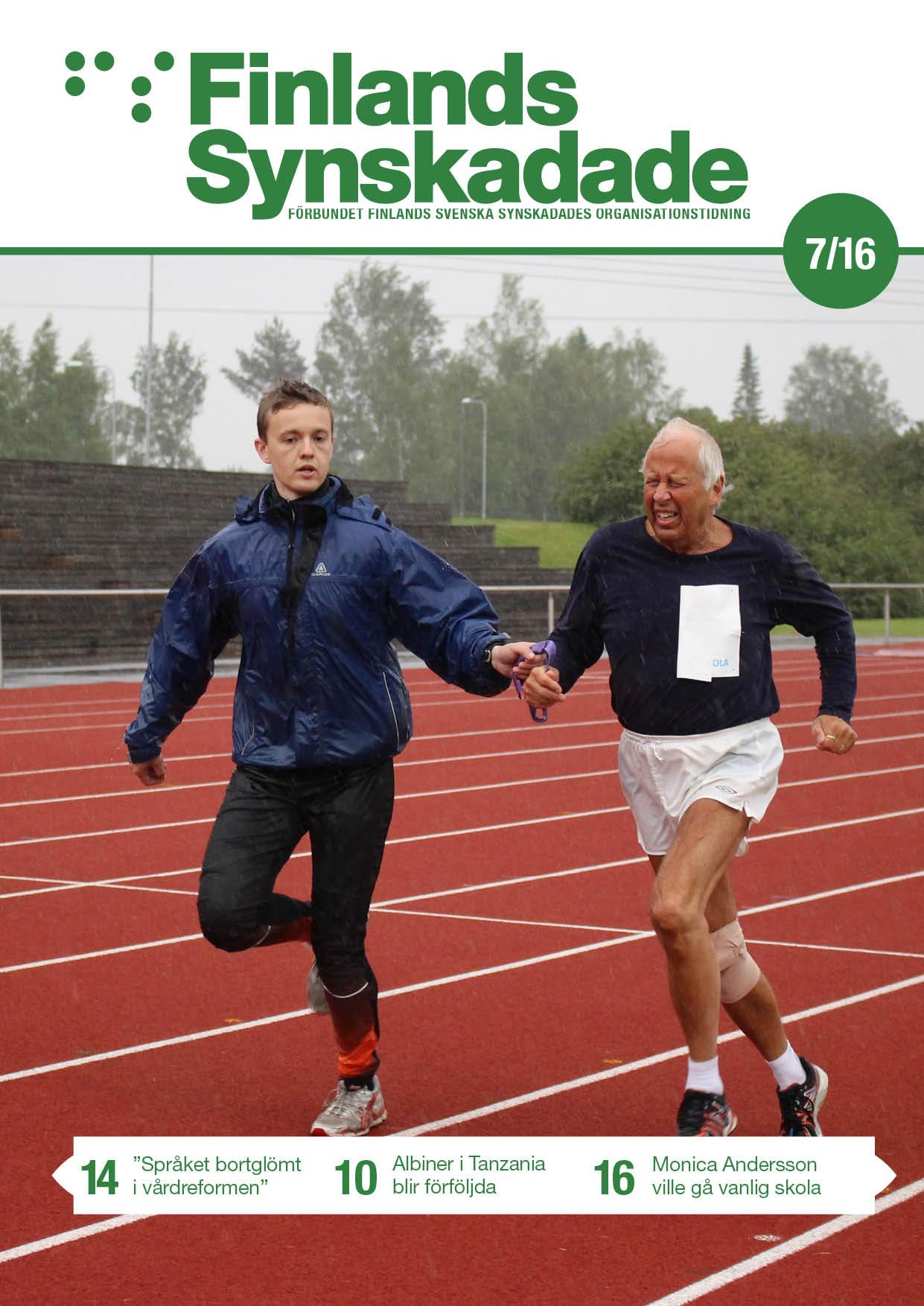 Pärmbild: Pehr Ahlstedt, med ledsagaren John Smedberg, kämpar om medalj då FSS friidrottstävlingar gick av stapeln i Pedersöre tidigare under sommaren.