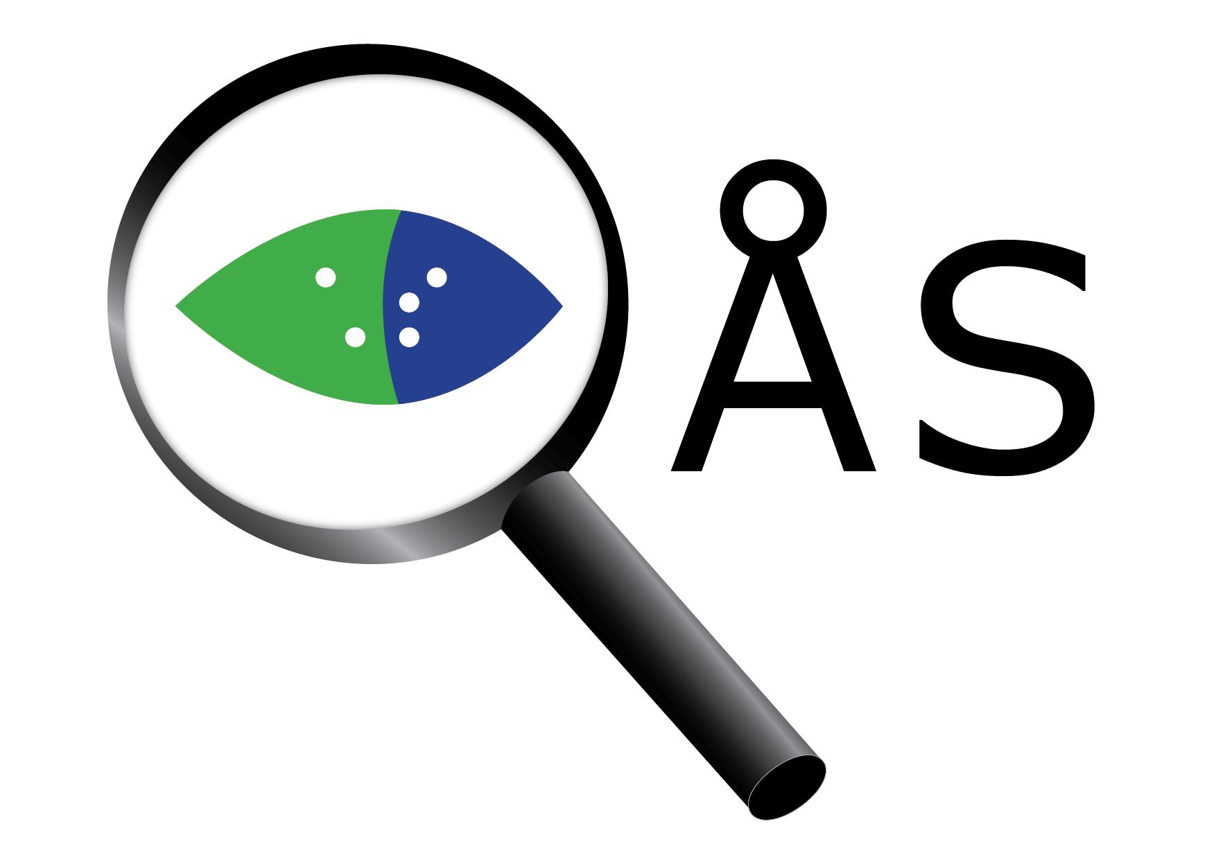 Logobild för Åbolands synskadade r.f. Ett förstoringsglas med ett öga i mitten samt bokstäverna ÅS till höger